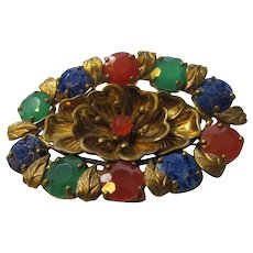 Vintage Pin from 1930's Flower Motif with Unusual Faux Lapis, Carnelian and Emerald Stones