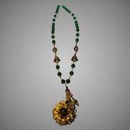 Vintage 1930's Neclace of Green Crystal Beads and Fabulous Brass Findings