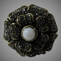 Heidi Daus Ring Size 7 1/2 With Pave Rhinestones
