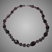 Vintage Purple Crystal Necklace With Rhinestone Clasp