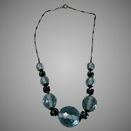 Deco Aqua Crystal Necklace with Enameled Chain and Unusual Crystal Rondelles