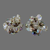 Juliana  Cluster Clip Earrings Set in Clear Aurora Borealis with Characteristic Puddling on back