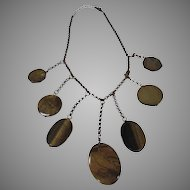 Vintage Coppertone Necklace with 7 Graduated agate drops