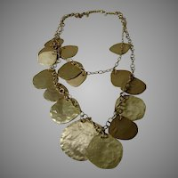 Fabulous Chico Vintage Runway Necklace in Brushed Goldtone
