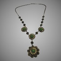 Vintage 1940's Necklace with Floral Pendants and Light Green Centers