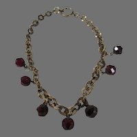 Vintage Brass Necklace With Seven Faux Ruby Crystal Drops