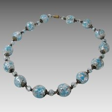 Vintage Venetian Beads in Blue and Silver Tones
