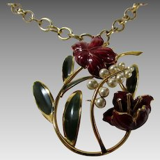 Vintage Floral Enameled Pendant With Faux Pearls in  Golden Tones