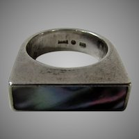 Sterling Silver Signed Sweden Ring With Inset Abalone