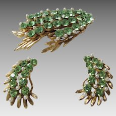 Vintage BSK Designer Pin and Matching Clip Earring in Peridot Tone Rhinestone