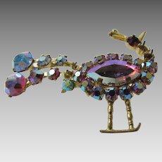 Vintage Austria Signed Peacock with Aurora Borealis Crystals