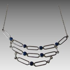 Sterling Silver Modernist Necklace with Lapis Lazuli Accents