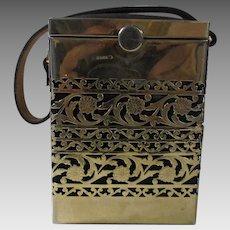 Vintage Designer Mid Century Gilded Black Purse Signed Tyrolean N.Y.