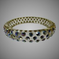 Vintage Petite Lucite Bangle with Aurora Borealis Crystals around Total Circumference