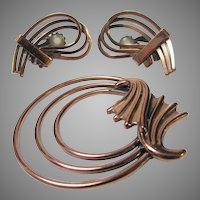 Vintage Renoir Copper Pin and Clip Earring Set
