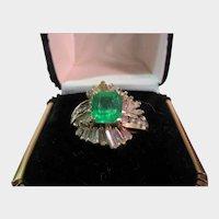 14 Karat Yellow Gold Emerald and Diamond Baguette Ring