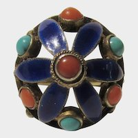 Vintage Chinese Enameled Ring With Coral and Turquoise Cabochons