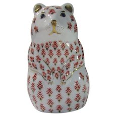 Royal Crown Derby Hamster Paperweight  White Background With Red,Gold and Blue Accents
