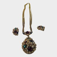 Vintage S.A. Necklace and Clip Earring Set in Goldtone Metal and Jewel Toned Cabochons
