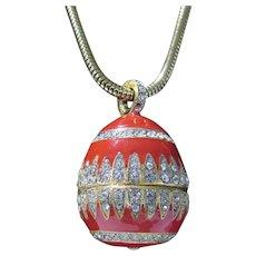 Vintage Eisenberg Enameled Egg Pendant on Goldtone Chain and Bedazzled in White Rhinestones