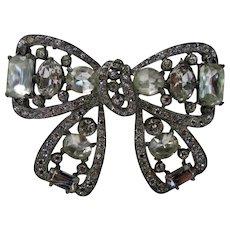 Eisenberg Original Bow Pin In Clear Swarovski Crystals