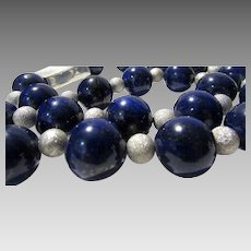 Artisan 19 MM Lapis Lazuli Beads With Amazing Brush Sterling Accents And Clasp