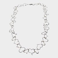 Sterling Silver String of Open Hearts Necklace