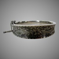 Sterling Silver Etched Bangle with Safety Chain