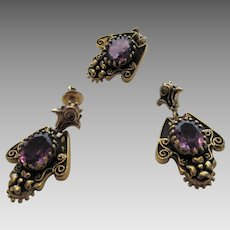 14 Karat Victorian Revival Pendant and Matching Earrings Each Set With Amethyst