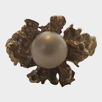 14 Karat Yellow Gold Ring With Cultured Pearl By Romany