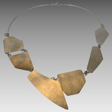 Sterling Sterling Modernist Puzzle Necklace Designer Signed by Balaam