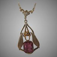 "Vintage Nouveau Pink Crystal Pendant on a 16"" Goldtone Necklace"