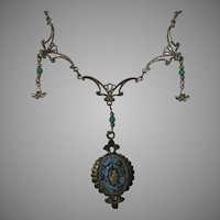 """Vintage Victorian Revival Necklace Supporting a 2"""" Faux Micro Mosaic Pendant"""