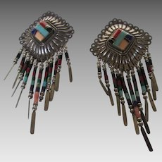 Sterling Silver Signed Earrings with A Mosaic of Inlaid Gems