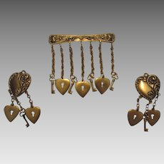 Joseff Heart and Key Set With Pin and Matching Clip Earrings all Signed in Russian Goldtone