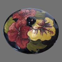 Moorcroft Covered Low Bowl In Hibiscus on Blue Background