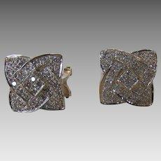 14 Karat White Gold Micro Pave Diamond Earrings
