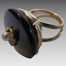 14 Karat Onyx  Ring With Seed Pearl Accents