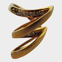 18 Karat Brushed Yellow Gold and Diamond Ring