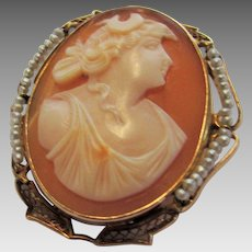 10 Karat Cameo With Seed Pearl Surround Pin or Pendant