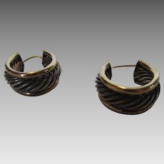 14 Karat Yellow Gold and Sterling Silver Hoop earrings