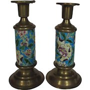 Vintage Longwy Candlesticks in Brass and Classic Longwy Pattern and Color