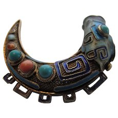 Vintage Chinese Silver Enameled Fish Embellished by Turquoise and Coral Cabochons