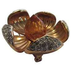 Vintage Joan Rivers Jeweled Dogwood Pin  with Apricot Lucite Center