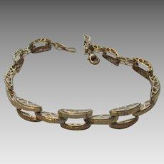 14 Karat Yellow Gold Textured Links Bracelet