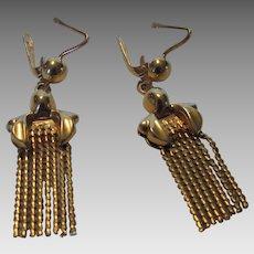 18 Karat Yellow Gold Euro Back Classic Tassel Style Earrings