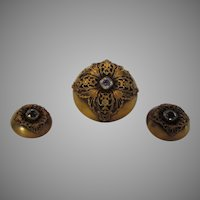 Joseff Set in Russian Florentine Goldtone Filagree Surround Pin and Matching Clip Earrings