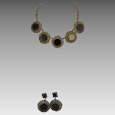 Joseff of Hollywood Russian Gold Filagree Necklace with Faux Onyx Medallions and Matching Clip Earrings