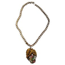 Vintage Book Chain Necklace Supporting an Art Glass Cabochon Pendant