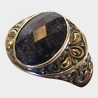 Sterling Silver Sapphire and 18 Karat Ring Designer Signed